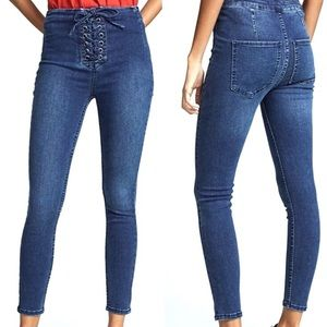 Free People High Waisted Lace Up Skinny Jeans